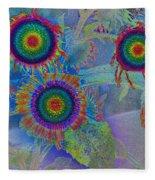 Rainbows In Flowers  Fleece Blanket