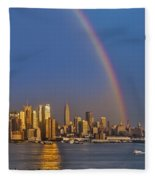 Rainbows Over The New York City Skyline Fleece Blanket