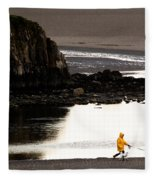 Raincoat Dog Walk Fleece Blanket