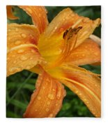 Raindrops On Golden Lily Fleece Blanket