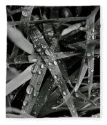 Raindrops On Grass Fleece Blanket