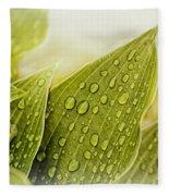 Raindrops On Hostas Fleece Blanket