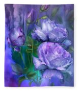 Raindrops On Lavender Roses Fleece Blanket