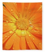 Raindrops On Orange Daisy Flower Fleece Blanket