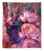Raindrops On Peach Roses Fleece Blanket