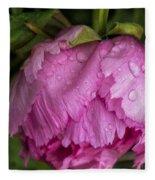 Raindrops On Peony Fleece Blanket