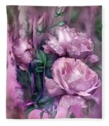 Raindrops On Pink Roses Fleece Blanket