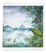 Rainforest Realm - St. Lucia Parrots Fleece Blanket