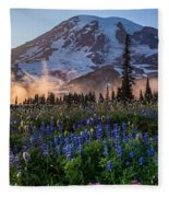 Rainier Wildflower Meadows Pano Fleece Blanket