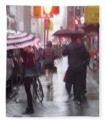 Rainy Corner - New York City Fleece Blanket