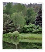 Rainy Day At The Pond Fleece Blanket