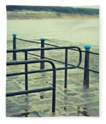 Rainy Day At The Sea Front Fleece Blanket