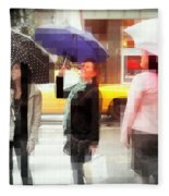 Rainy Day In The City - Blue Pink And Polka Dots Fleece Blanket