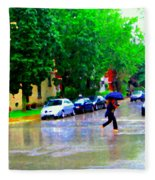 Rainy Days And Mondays Girl Running With The Blue Umbrella Montreal Art City Scenes Carole Spandau Fleece Blanket