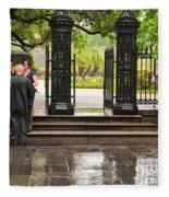 Rainy Destination Wedding In Jackson Square New Orleans Fleece Blanket