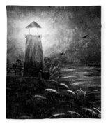 Rainy Night At The Lighthouse Fleece Blanket