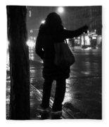 Rainy Night - Hailing A Cab Fleece Blanket