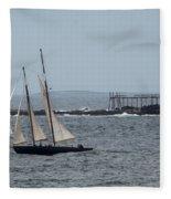 Ram Island Ledge Light And Schooner Fleece Blanket