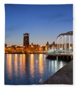 Rambla De Mar Promenade In Barcelona At Night Fleece Blanket