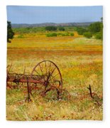 Ranch And Wildflowers And Old Implement 2am-110547 Fleece Blanket