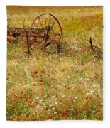 Ranch And Wildflowers And Old Implement 2am-110546 Fleece Blanket