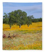 Ranch And Wildflowers And Old Implement 2am-110556 Fleece Blanket