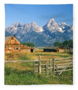 1m9392-ranchland And The Tetons Fleece Blanket