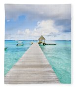 Rangiroa Atoll Pier On The Ocean Fleece Blanket