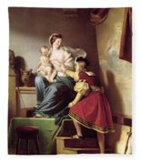 Raphael Adjusting His Model's Pose For His Painting Of The Virgin And Child  Fleece Blanket