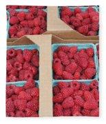Raspberry Pints In Cardboard Flats Fleece Blanket