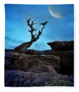 Raven On Twisted Tree With Moon Fleece Blanket