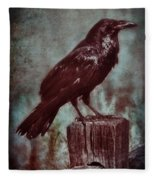 Raven Perched On A Post Fleece Blanket