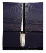 Ravenel Bridge Night View Fleece Blanket