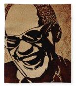 Ray Charles Original Coffee Painting Fleece Blanket