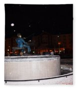 Ray Charles Statue In A Odd Weather Event Fleece Blanket