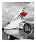 Reach For The Skies - 1959 Cadillac Tail Fins Black And White Fleece Blanket