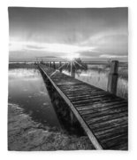 Reaching Into Sunset In Black And White Fleece Blanket