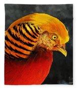Read And Yello Bird Fleece Blanket