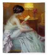 Reading In Lamp Light Fleece Blanket