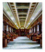 Reading Room In The Library Of Congress Fleece Blanket