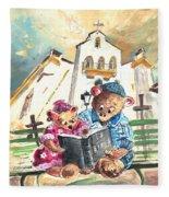Reading The Bible In La Iruela In Spain Fleece Blanket