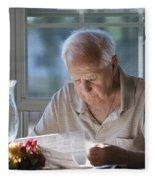 Reading The Sunday News Paper Fleece Blanket
