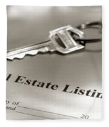 Real Estate Listing And Hosue Keys Fleece Blanket