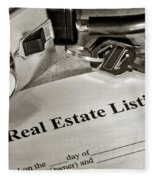 Real Estate Listing And Lock Box Fleece Blanket