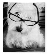 Really Portait Of A Westie Wearing Glasses Fleece Blanket