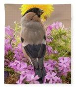 Rear View Of Female Bullfinch Standing Fleece Blanket