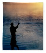 Rear View Of Fly-fisherman Silhouetted Fleece Blanket