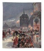 Reception Of Charles V In Amboise Fleece Blanket