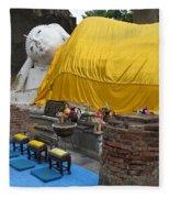 Reclining Buddha Monument Fleece Blanket