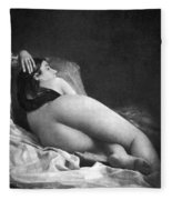 Reclining Nude, C1850 Fleece Blanket